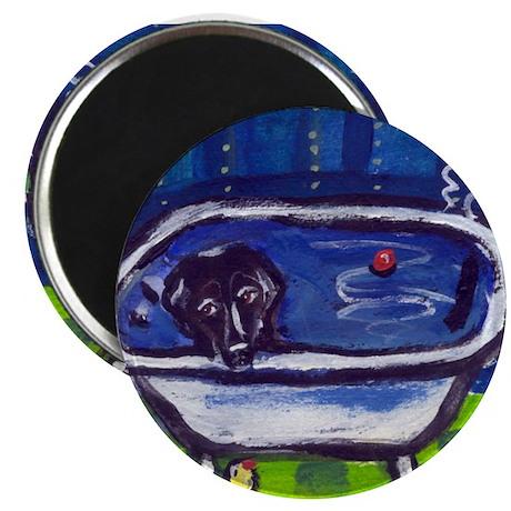 "BLACK LAB takes bath Design 2.25"" Magnet (100 pack"