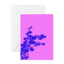 BAMBOO BLUE ON PINK Greeting Card