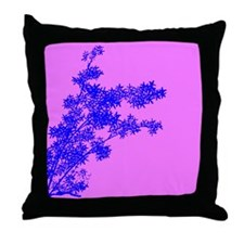 BAMBOO BLUE ON PINK Throw Pillow
