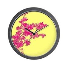 BAMBOO PINK ON YELLOW Wall Clock