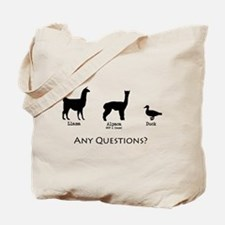 Llama, Alpaca, Duck... Any Qu Tote Bag
