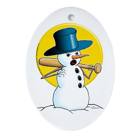 Evil Snowman Oval Ornament