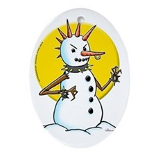 Punk Snowman Oval Ornament