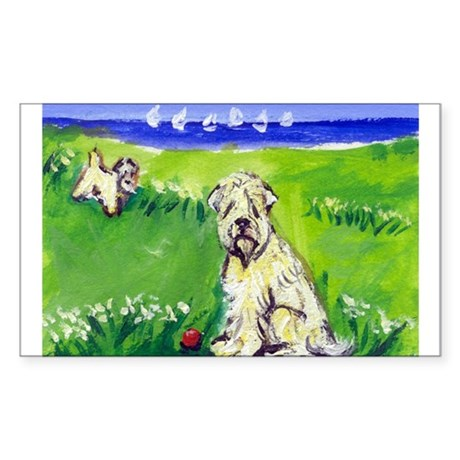 Wheaten by the lake Rectangle Sticker