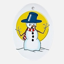 Evil Demented Snowman Oval Ornament
