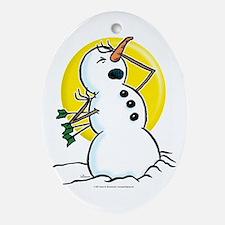 I've Been Shot Snowman Oval Ornament