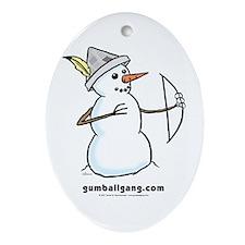 Archer Snowman Oval Ornament