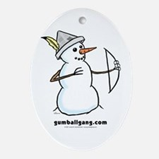 Archer Snowman Oval Ornament