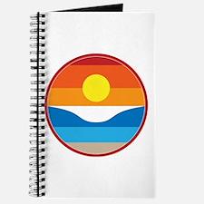 Horizon Sunset Illustration with Crashing Journal