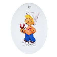 Slingshot Kid Oval Ornament