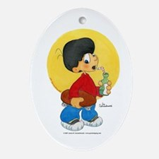 Skate Board Boy Oval Ornament