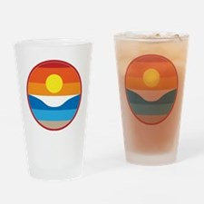Horizon Sunset Illustration with Cr Drinking Glass