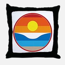 Horizon Sunset Illustration with Cras Throw Pillow