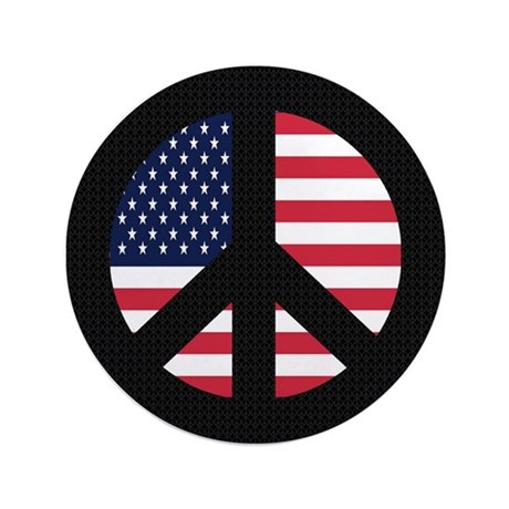 """Peace Sign with American Flag 3.5"""" Button"""