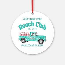 Flamingo Beach Club Round Ornament