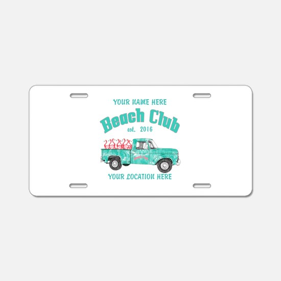 Flamingo Beach Club Aluminum License Plate