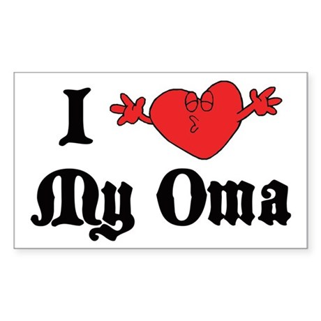 I Love My Oma Rectangle Sticker