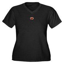 Tiny Heart Women's Plus Size V-Neck Dark T-Shirt