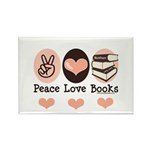 Peace Love Books Book Lover Rectangle Magnet (10 p