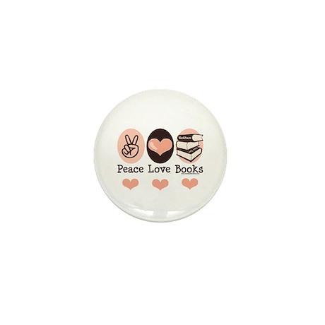 Peace Love Books Book Lover Mini Button (100 pack)
