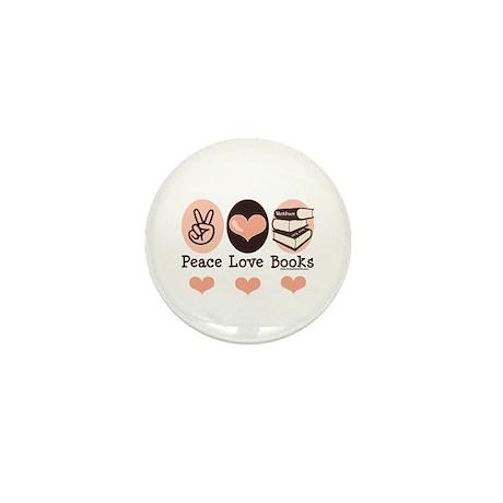 Peace Love Books Book Lover Mini Button