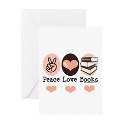 Peace Love Books Book Lover Greeting Card