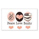 Peace Love Books Book Lover Rectangle Sticker