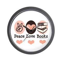 Peace Love Books Book Lover Wall Clock