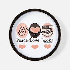 Peace Love Books Book Lover Wall Clock