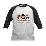 Peace Love Books Book Lover Kids Baseball Jersey