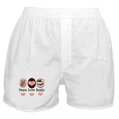 Peace Love Books Book Lover Boxer Shorts