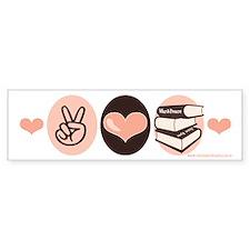 Peace Love Books Book Lover Bumper Car Sticker