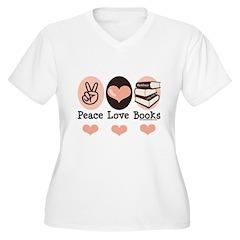 Peace Love Books Book Lover Women's Plus Size V-Ne