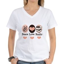 Peace Love Books Book Lover Shirt