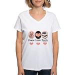 Peace Love Books Book Lover Women's V-Neck T-Shirt