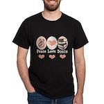 Peace Love Books Book Lover Dark T-Shirt
