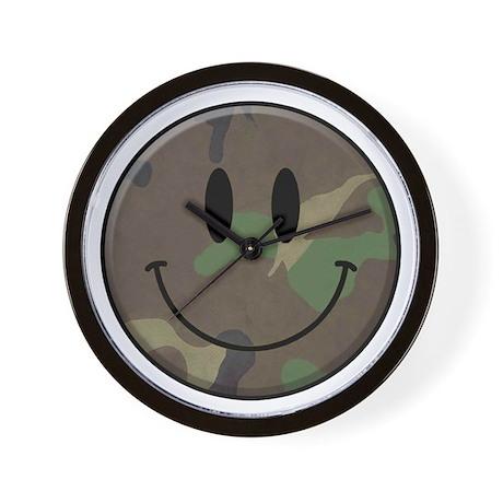 Camo Smiley Face Wall Clock
