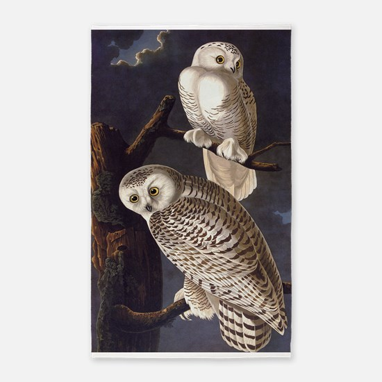 White Snowy Owls Vintage Audubon Wildlife Area Rug