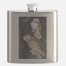 White Snowy Owls Vintage Audubon Wildlife Flask