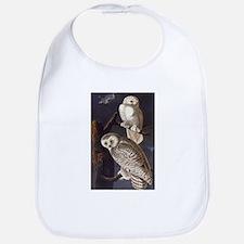 White Snowy Owls Vintage Audubon Wildlife Bib