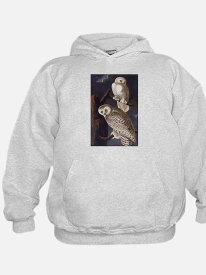 White Snowy Owls Vintage Audubon Wildlife Hoodie