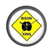 Bison Crossing Wall Clock