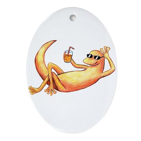 Orange Lazy Gecko Keepsake (Oval)