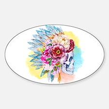 Skull Headdress Sticker (Oval)