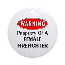 Female Firefighter Property Ornament (Round)