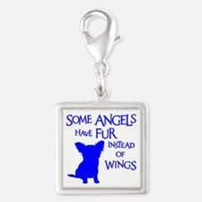 ANGEL DOG Silver Square Charm