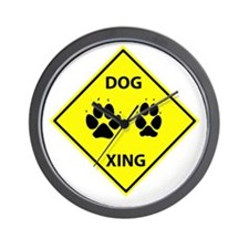 Dog Crossing Wall Clock
