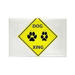 Dog Crossing Rectangle Magnet
