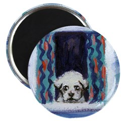 MALTESE pup in window Magnet