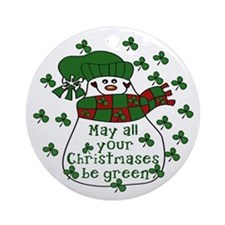 IRISH Green Christmas Snowman Ornament (Round)